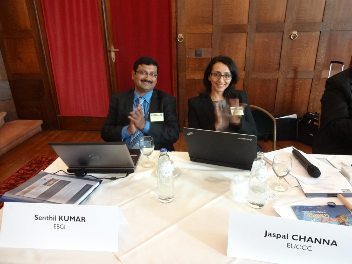 Senthil Kumar from European Business Group India (left) and Jaspal Channa from the EU Chamber of Commerce in China (EUCCC)