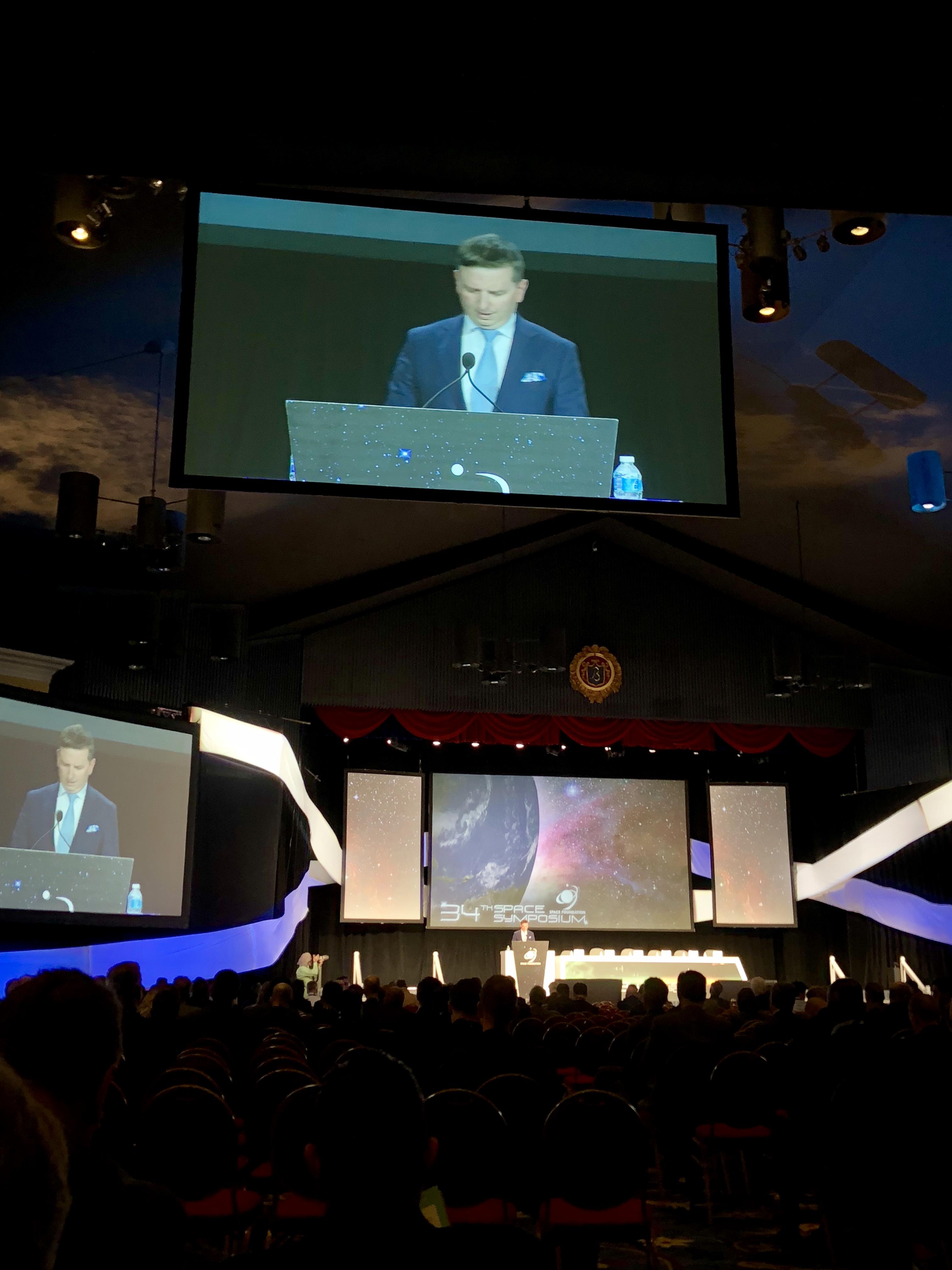 Tomasz Husak delivers his keynote address at the 34th Space Symposium (April 17, 2018 in Colorado Springs, Colorado, U.S.A).
