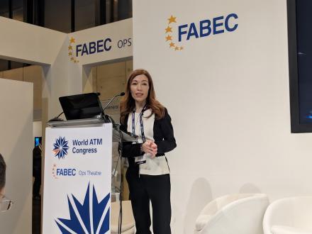 GSA Market Development Officer Carmen Aguilera speaking at the World Air Traffic Management Congress